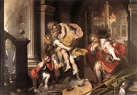 Aeneas flees burning Troy, Federico Barocci, 1598