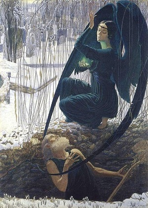 La mort du fossoyeur (The Death of the gravedigger; 1895) by Carlos Schwabe (1866-1926)
